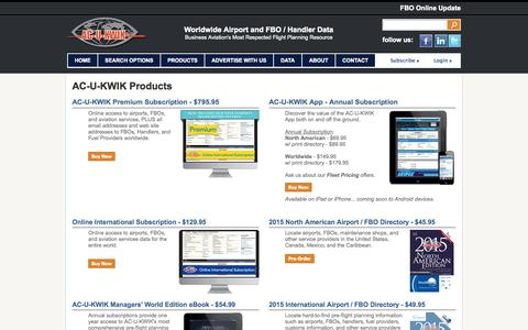 Screenshot of Products Page acukwik.com - AC-U-KWIK Airport and Airport Service Data Products - captured Oct. 30, 2014