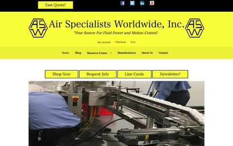 """Screenshot of Home Page airspec.com - Air Specialists Worldwide, Inc. – """"Your Source for Fluid Power and Automation Control Products"""" - captured Sept. 24, 2016"""