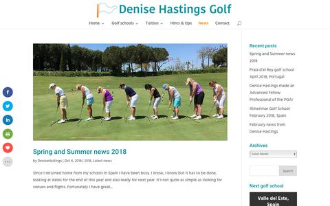 Screenshot of Press Page denisehastings.com - latest news from Denise Hastings, fellow of the PGA - captured Oct. 8, 2018