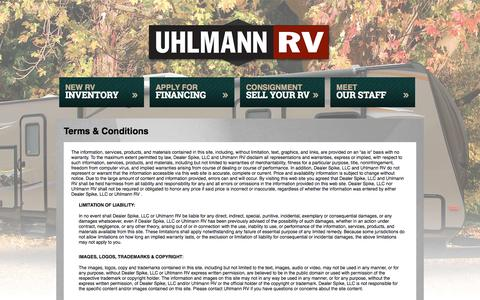 Screenshot of Terms Page uhlmannrv.com - Terms | Uhlmann RV  | Chehalis Washington - captured Oct. 3, 2014
