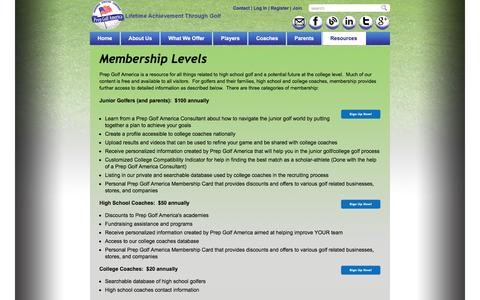 Screenshot of Signup Page prepgolfamerica.com - Membership Options Page - Prep Golf America Prep Golf America - captured May 21, 2017