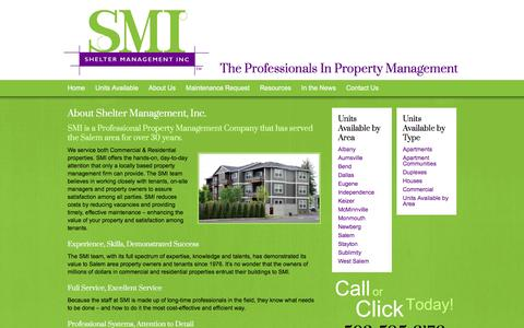 Screenshot of About Page smiproperty.com - About Shelter Management, Inc. -Shelter Management, Inc. - captured June 19, 2016