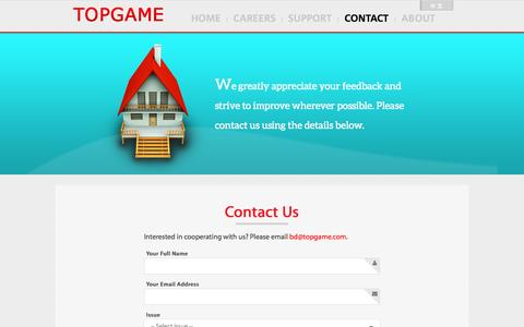 Screenshot of Contact Page topgame.com - Contact Us - TOPGAME - captured Oct. 31, 2014