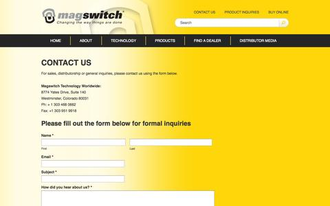 Screenshot of Contact Page magswitch.com.au - Contact Us - Magswitch - captured Oct. 4, 2014