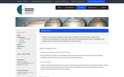Screenshot of Services Page tauberoil.com - Our Services - From Asset Management to Procurement - captured Jan. 30, 2018