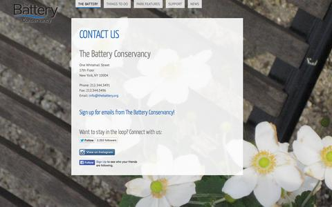 Screenshot of Contact Page thebattery.org - Contact Us   The Battery Conservancy - captured Oct. 7, 2014