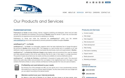 Screenshot of Services Page plguide.com - Products and Services | Publications Le Guide | Web development | Organic search | Marketing | autoExpert - captured Oct. 3, 2014