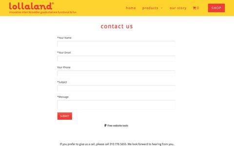 Screenshot of Contact Page lollaland.com - Contact Us - lollaland - captured Nov. 13, 2016