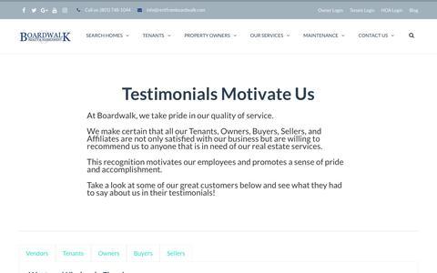 Screenshot of Testimonials Page bwprentals.com - Testimonials | Boardwalk Property Management - captured Oct. 10, 2017