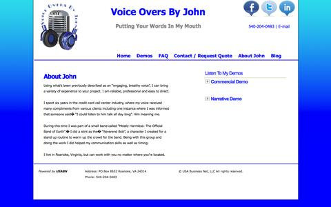 Screenshot of About Page voiceoversbyjohn.com - About John | Voice Overs By John - captured Oct. 9, 2014