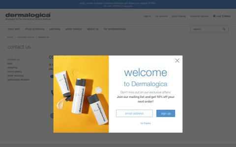 Screenshot of Contact Page dermalogica.com - Contact Us | Dermalogica® - captured May 12, 2019