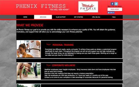 Screenshot of Services Page phenixfitness.com - Phenix Fitness | SERVICES - captured Nov. 5, 2016
