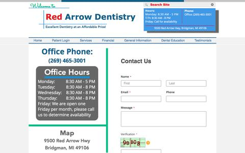 Screenshot of Contact Page Hours Page redarrowdentistry.com - redarrowdentistry | Contact Us, Hours, & Map - captured July 3, 2018