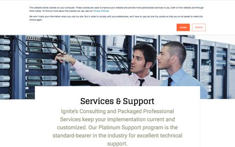 Screenshot of Services Page ignitetech.com - Ignite Technologies :: Services and Support - captured June 7, 2018
