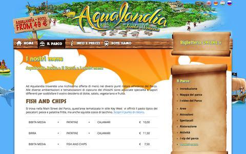 Screenshot of Menu Page aqualandia.it - I nostri menu - Aqualandia Jesolo - captured Sept. 19, 2014