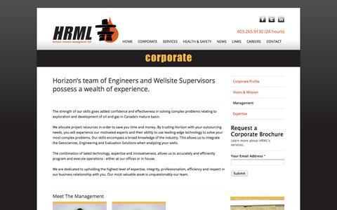 Screenshot of Team Page horizonresource.net - HRML :: Management - captured Oct. 3, 2014