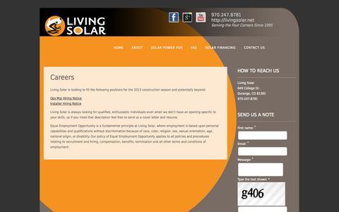 Screenshot of Jobs Page livingsolar.net - Living Solar Careers - captured Sept. 30, 2014