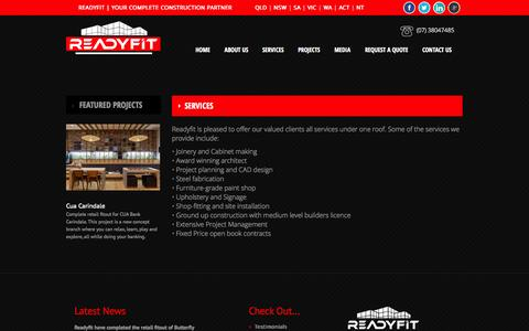 Screenshot of Services Page readyfit.com.au - Services | Shopfitting, Joinery, Construction & Design Company | Readyfit - captured Oct. 31, 2014
