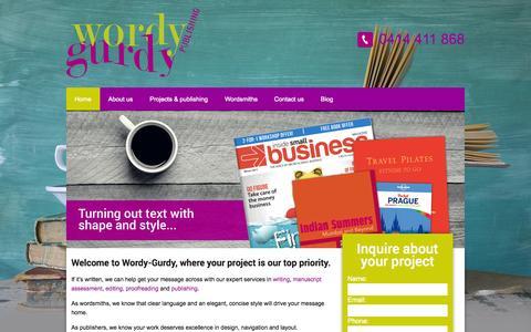 Screenshot of Home Page wordygurdy.com.au - ***Wordy-Gurdy - writing/editing*** - captured Sept. 30, 2014