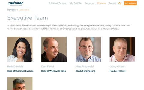 Screenshot of Team Page cashstar.com - Leadership Team Executives - CashStar - captured July 12, 2018