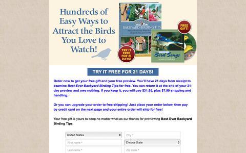 Screenshot of Landing Page rodalesorganiclife.com - Best-Ever Backyard Birding Tips - captured May 3, 2018