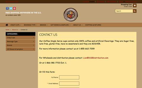 Screenshot of Contact Page crazycups.com - Contact Us - Crazy Cups - captured Dec. 12, 2015