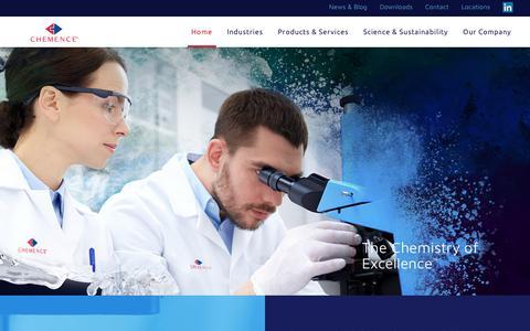 Screenshot of Home Page chemence.com captured Sept. 27, 2018