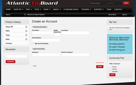 Screenshot of Signup Page atlanticflyboard.com - Create New Customer Account - captured July 26, 2016