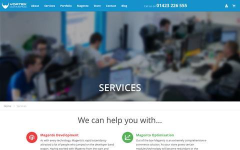 Screenshot of Services Page vortexcommerce.com - Magento Services   Vortex Commerce - captured Feb. 18, 2016