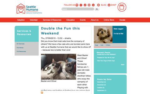 Screenshot of Blog seattlehumane.org - Blogs   Seattle Humane - captured Oct. 2, 2015