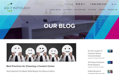 Screenshot of Blog 24-7intouch.com - Best Practices for Choosing a Contact Center - captured Feb. 20, 2020