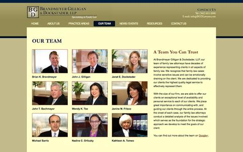 Screenshot of Team Page bgdlawyers.com - Family Law Attorney Team | Long Beach & Manhattan Beach | Divorce Lawyer - captured Oct. 4, 2014