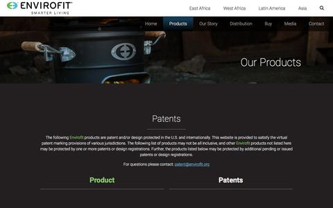 Screenshot of Products Page envirofit.org - Products - Envirofit - captured Nov. 8, 2016