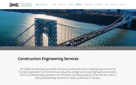 Screenshot of Services Page dhglabe.com - Construction Engineering Services | DH Glabe & Associates - captured Oct. 11, 2017