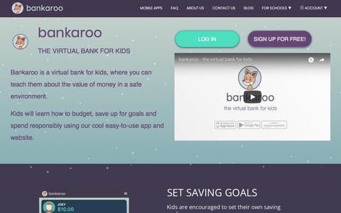 Screenshot of Home Page bankaroo.com - bankaroo :: virtual bank for kids – bankaroo :: virtual bank for kids - captured Aug. 4, 2018