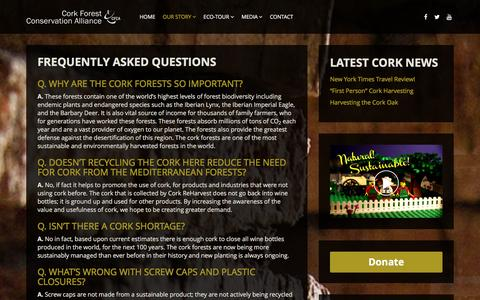 Screenshot of FAQ Page corkforest.org - Cork Forest Conservation Alliance   Frequently Asked Questions - Cork Forest Conservation Alliance - captured Jan. 31, 2016