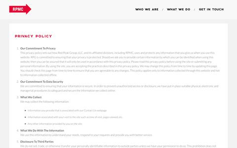 Screenshot of Privacy Page rpmc.com - Privacy Policy - RPMC | Event Management & Travel Agency - captured Nov. 2, 2017