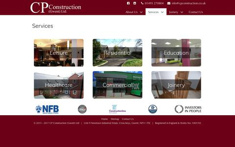 Screenshot of Services Page cpconstruction.co.uk - Services | CP Construction (Gwent) Ltd - captured July 9, 2017