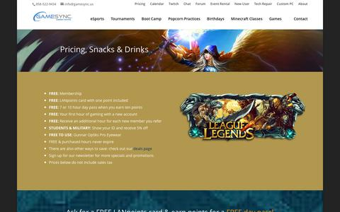 Screenshot of Pricing Page gamesync.us - Pricing, Food & Drinks - GameSync Gaming Center | San Diego - captured Jan. 26, 2016