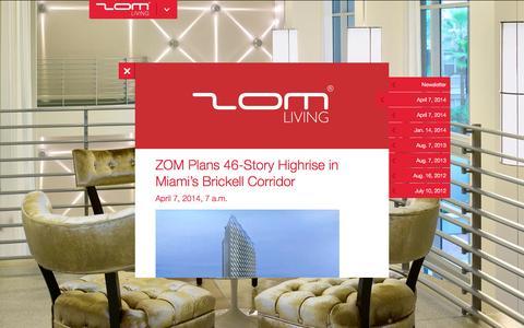 Screenshot of Press Page zomusa.com - ZOM LIVING- News - captured Oct. 7, 2014
