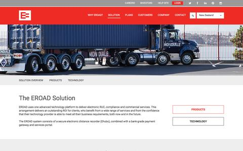 Screenshot of Products Page eroad.co.nz - Solution | EROAD - captured Oct. 15, 2016