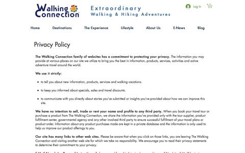 Screenshot of Privacy Page walkingconnection.com - walkingconnection | Privacy Policy - captured Sept. 20, 2018