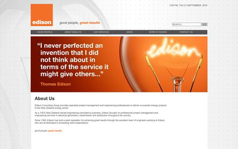 Screenshot of About Page edison.co.nz - Engineering Project Management, Electricity Industry: Edison - captured Sept. 27, 2018