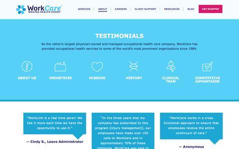 Screenshot of Testimonials Page workcare.com - Testimonials | Work Care - captured Oct. 9, 2014