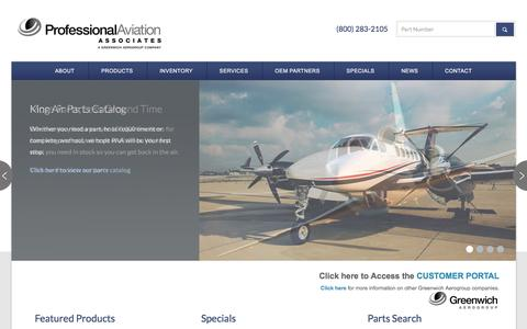 Screenshot of Home Page proaviation.com - Professional Aviation | King Air Parts - captured Feb. 1, 2016