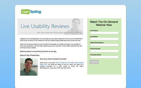 Screenshot of Landing Page usertesting.com - Steve Krug Live Usability Reviews Webinar | UserTesting.com - captured May 11, 2018