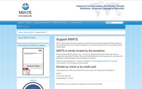 Screenshot of Support Page mints.edu - MINTS -   Support MINTS - captured Oct. 3, 2014