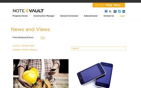 Screenshot of Blog notevault.com - Blog - NoteVault - captured Nov. 5, 2014