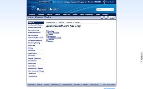 Screenshot of Site Map Page bannerhealth.com - BannerHealth.com Site Map - captured Sept. 24, 2014