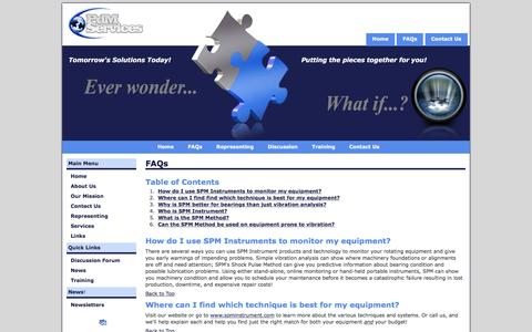 Screenshot of FAQ Page pdmsvc.com - PdM Services - FAQs - captured Jan. 26, 2016